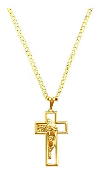 Corrente Masculina 70cm 3mm Pingente Cruz Cristo Banho Ouro