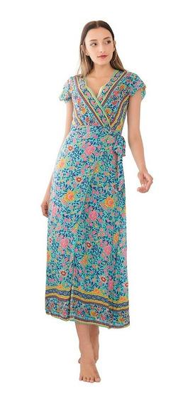Vestido Boho Largo Azul Importado Ciudad Selena69