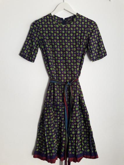 Vestido Retro Vintage Floreado De Algodón Talle Xs