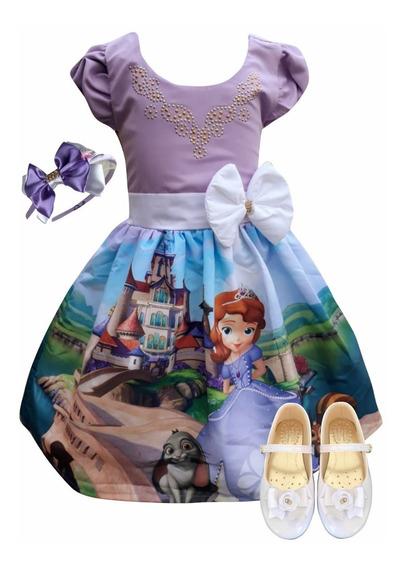 Vestido Princesa Princesinha Sofia + Sapatilha + Tiara