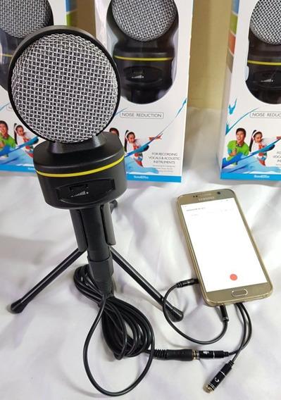 Microfone Celular Condensador Voz Violão Sf930 + Adap P3