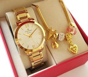 Relógio Champion Feminino Dourado Luxo + Pulseira Cn25403s