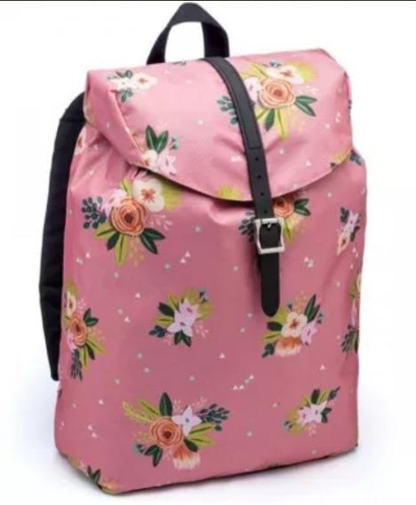 Mochila Pink Floral Imaginarium Nova Escolar Promoção Fem.