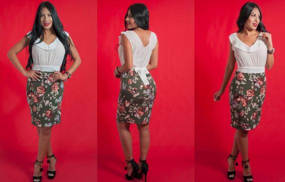 Conjunto Para Mujer Falda Y Blusa Estilo Estam De Flores