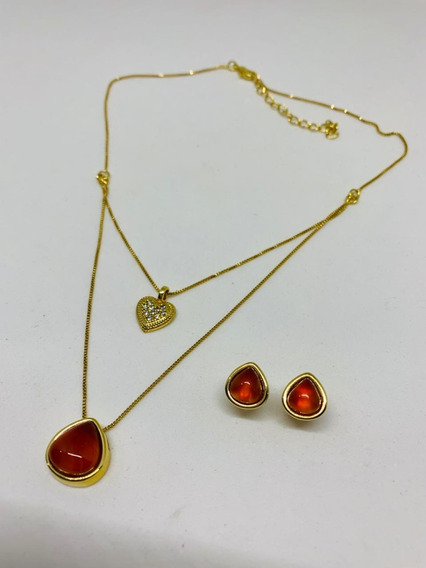 Conjunto Semi Joia Banhada A Ouro E Pedra Agata Vermelha