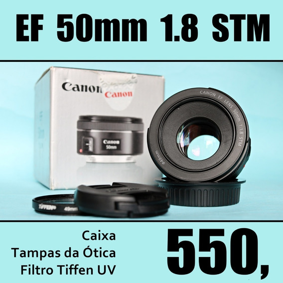 Canon Ef 50mm 1.8 Stm - Na Caixa + Filtro Uv