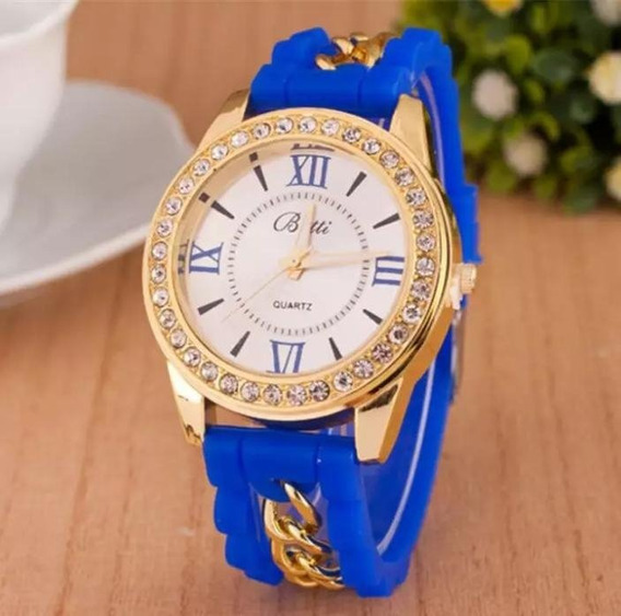 Relógio Feminino Pulso Azul Mulheres Moda Casual Strass Lux