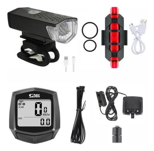 Imagem 1 de 11 de Kit Acessórios Bike Bicicleta Lanterna + Pisca + Velocimetro