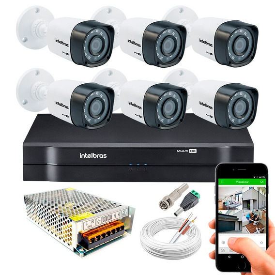 Kit 6 Câmeras Externas Vhd 1120b 1mp Infra Dvr Intelbras