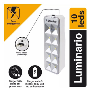 Lampara Recargable Sanelec 10 Leds