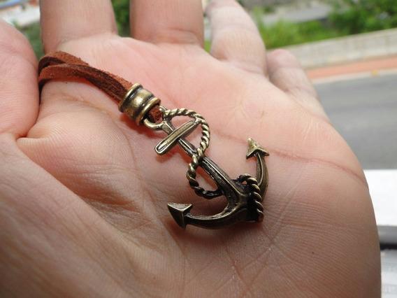 Cordão Masculino E Feminino Marrom Ancora Bronze Importada.+