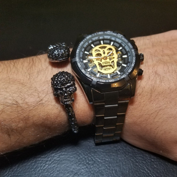 Reloj Mecanico Skull Calavera Negro Skeleton + Pulsera Doub