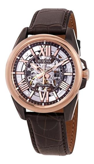 Relógio Bulova Masculino Automático Wb31998m Esqueleto Couro