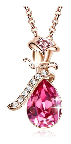 Dije Cristal Rosa Love Oro Rosa 14k Ak Jewelry Rhinestones