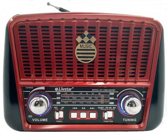 Radio Box Vintage Portátil Bluetooth Usb Recarregável 2257