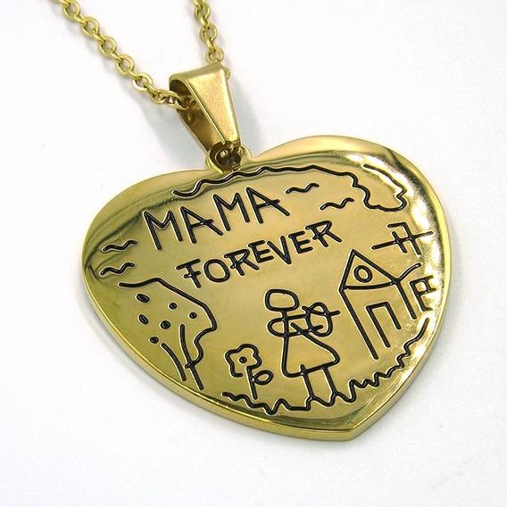 Collar De Acero Dorado Corazón Mama Por Siempre Eg