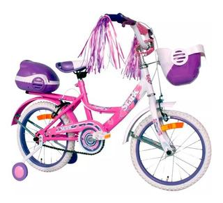 Bicicleta Stark Flowers 6095 Rodado 16 Nena Rueditas Canasto