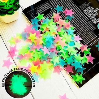 Paquete De 100 Estrellas Techo Fluorescentes Fosforecentes