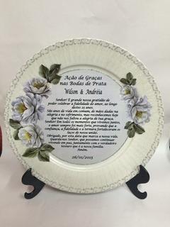 Prato Presente Porcelana Decorativo Bodas De Prata E Ouro