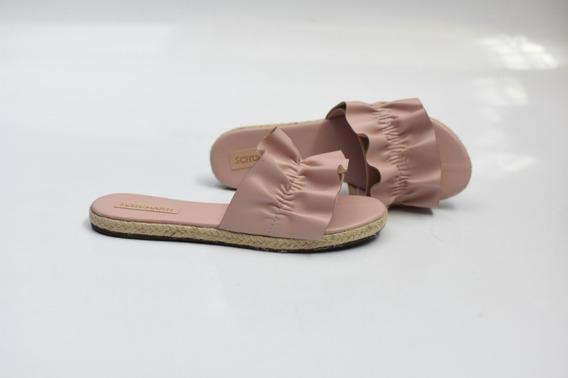 Sandália Tamanco Rasteiro Rosê Com Corda Ref-983831