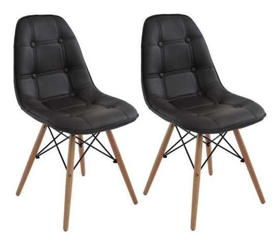 Cadeira Dkr Charles Eames Wood Estofada Botonê Kit 02pc + Nf