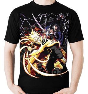 Camiseta Anime Naruto Vs Sasuke (nerd / Geek) Camisa Blusa