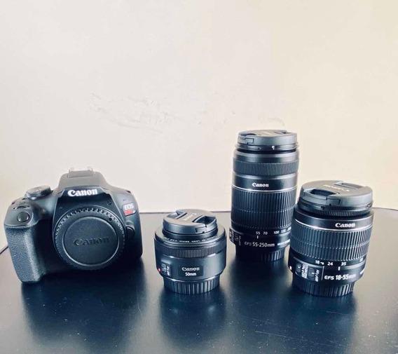 Câmera Canon Eos Rebel T7 + Kit De Lentes