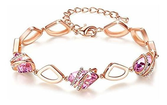 Pulsera Mujer Leafael, Cristales Swarovski, Chapada En Oro