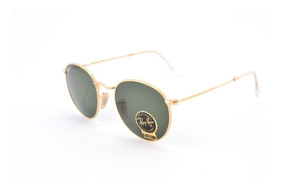 Óculos De Sol Ray Ban Round Rb3447 001 Metal Unissex