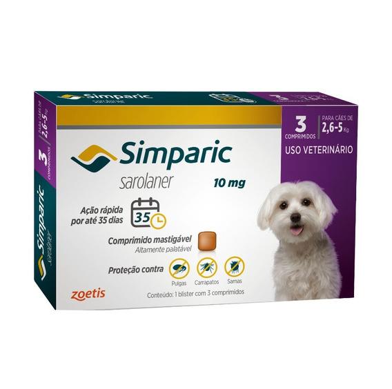 Simparic 10 Mg Para Cães 2,6 A 5 Kg