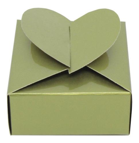 50 Caixinhas Douradas Com Fecho De Coração P/ Festas
