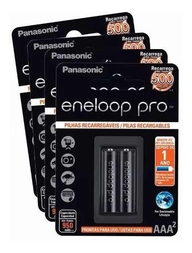 Pilha Panasonic Eneloop Pro Preta Palito Aaa 4 Pilhas