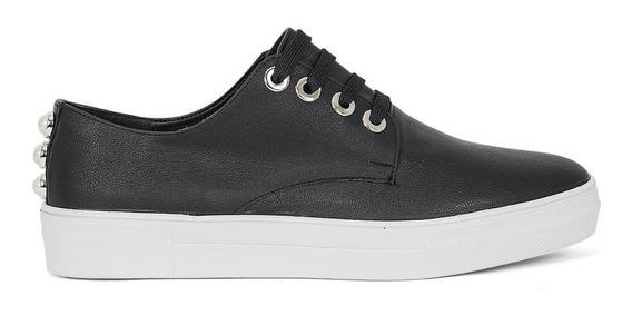 Zapatos Tenis Dama Perlas Casual Sport Negros 8319