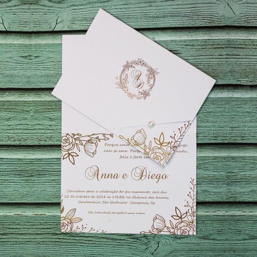 30 Convites Casamento Monograma Dourado Personalizado Pérola