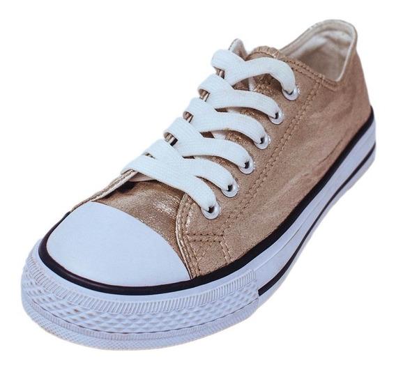 Zapato Converse Para Dama Corte Bajo Dorado Plateado