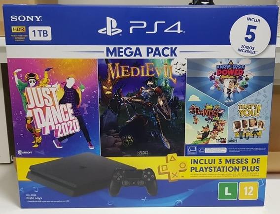 Ps4 Mega Pack 1tb Hdr C/1 Controle C/5 Jogos Com Nf