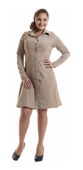 Vestido Sobretudo Veludo C/bolsos Evangélica Feminino 8624.
