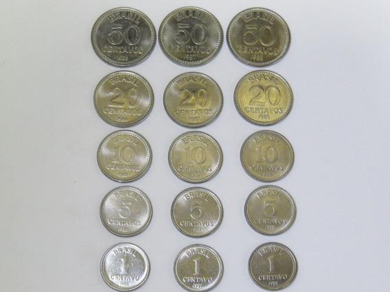 Moedas 1, 5, 10, 20 E 50 Centavos 1986, 1987 E 1988