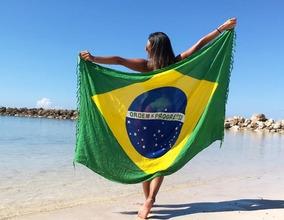 Canga Saída De Praia Bandeira Brasil Toalha Moda Verão Beach
