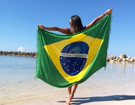 Canga Saída De Banho Praia Bandeira Brasil Toalha Verão