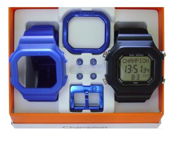 Relógio Champion Yot Original Cp40180x Nf Azul / Preto