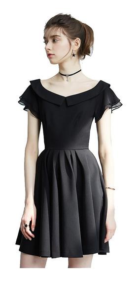 Vestido Falda Circular Con Ligeros Tablones Cuello V