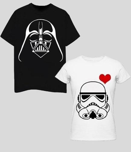 2 Playeras Star Wars San Valentín Personalizadas Colores