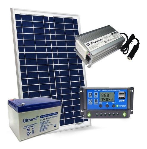 Kit Energía Solar 220v Inversor 150 Panel 20w Bateria 12amp