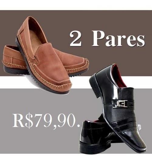 Sapato Social Masculino Verniz+sapatilha Couro Legítimo-kit