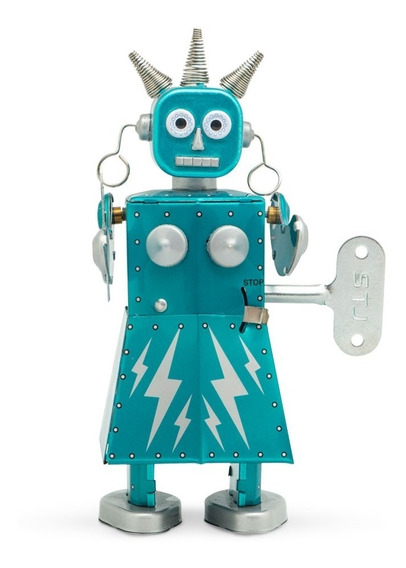Robot A Cuerda De Hojalata Retro Tin Toy Electra Gato
