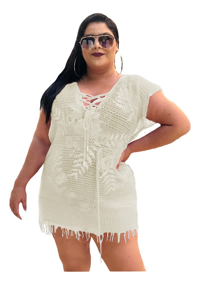 Saída De Praia Vestido Com Ilhós Franja Plus Size Até 54