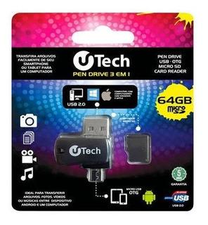 Cartão De Memória Micro Sd 64gb C/adap Usb + Otg U-tech