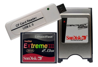Cf 2gb + Leitor Compact Flash Usb + Adaptador Pcmcia Sandisk