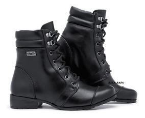 Bota Militar Feminina Cano Médio Confortável Estilo Coturno